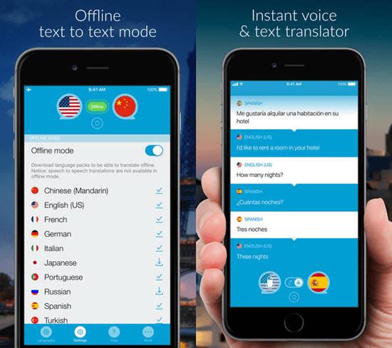 Speak and Translate (Spreche und Übersetze) wird von Apples erfolgreichem technischen Support für Spracherkennung unterstützt.