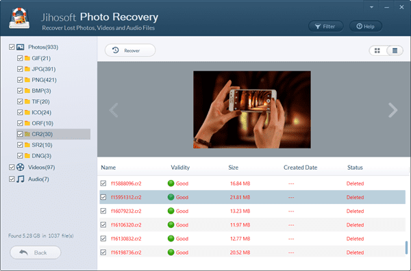 Preview and Recover Photos from Digital Camera.