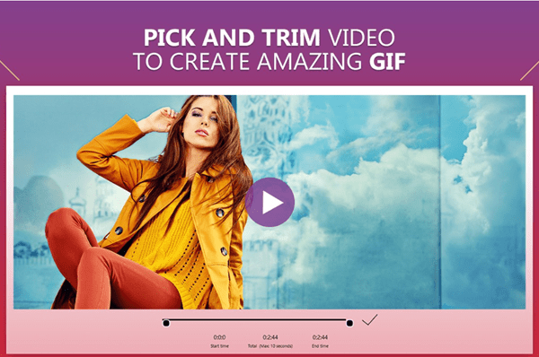 Video to GIF Maker by Swisspix is featured with several functions, including Camera to Gif, Video to Gif and Image to Gif.